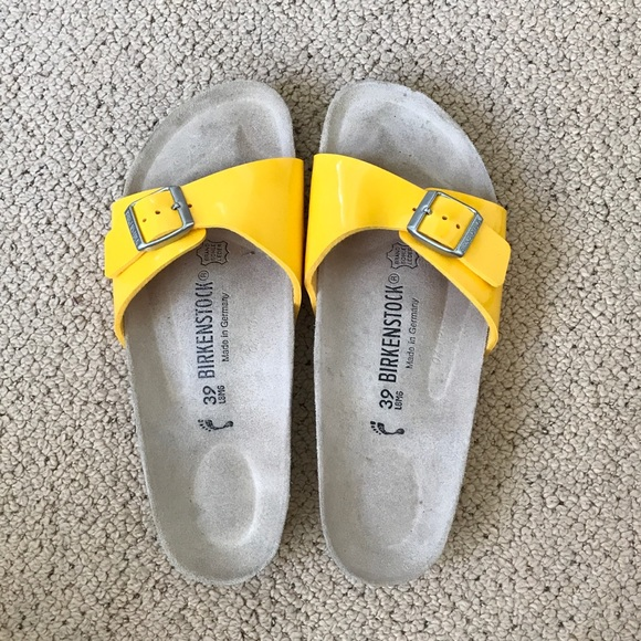 2e3d724ce39 Birkenstock Shoes - Birkenstock Madrid Patent Yellow Birko-Flor